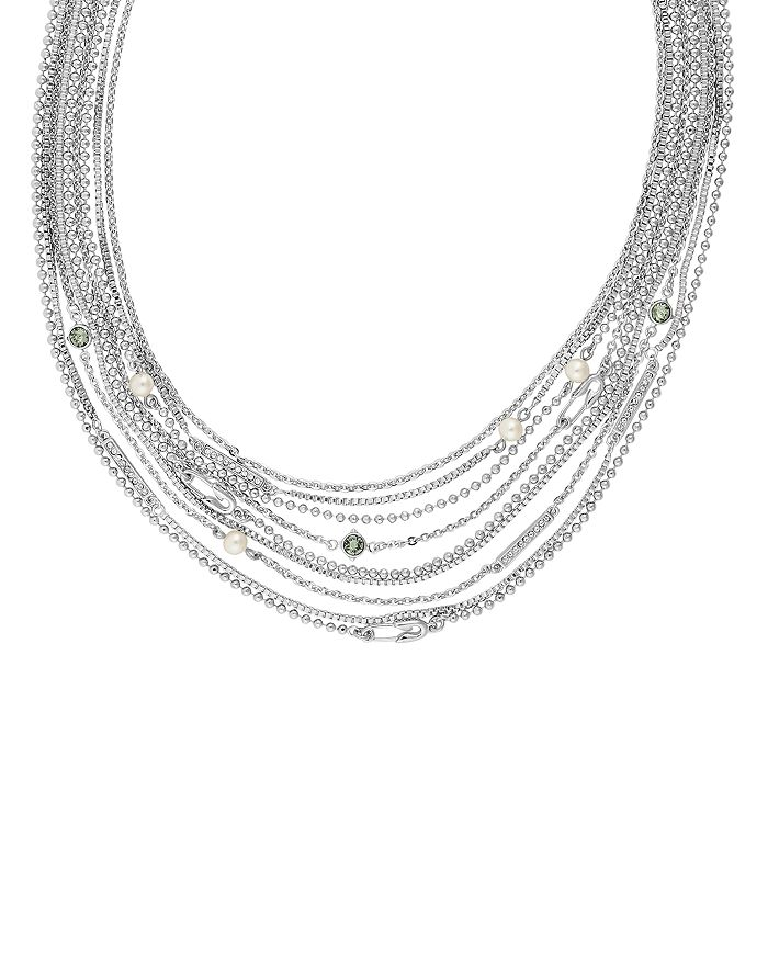 KARL LAGERFELD Paris - Safety Pin & Pearl Multi Strand Necklace, 18""