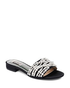 Badgley Mischka - Women's Florentina Faux Pearl & Rhinestone Slide Sandals