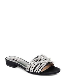 Badgley Mischka - Women's Florentina Faux Pearl & Rhinestone Slide Sandals