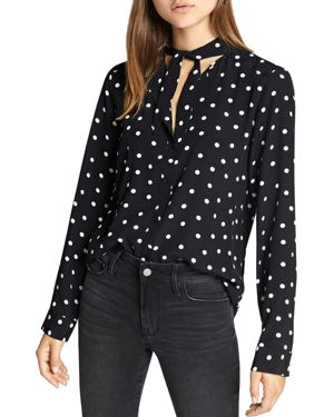 Nightingale Dotted Tie Neck Top in Black Dots