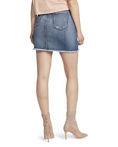 Ella Moss - Distressed Frayed Hem Denim Mini Skirt in Gwen