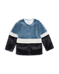 Habitual Kids - Girls' Color-Block Faux-Fur Coat - Big Kid