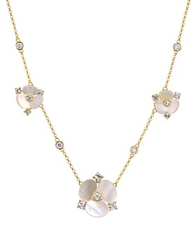 kate spade new york - Mother-of-Pearl Floral Station Necklace, 16""