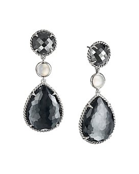 David Yurman - Châtelaine®  Teardrop Earrings with Hematine with Crystal Overlay, Hematine & Milky Quartz Over Mother-of-Pearl