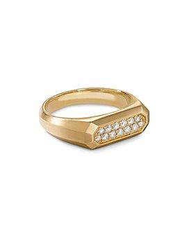David Yurman - Streamline® Signet Ring in 18K Yellow Gold with Diamonds