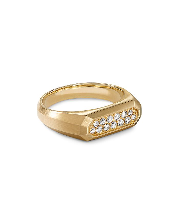 David Yurman - Streamline® Signet Ring in 18K Yellow Gold with Diamonds