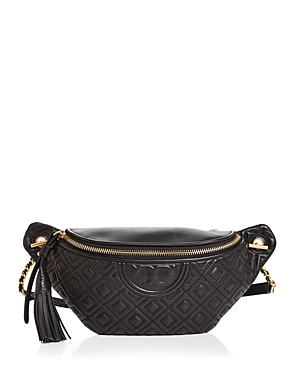 Tory Burch Fleming Quilted Leather Belt Bag Black In Gold