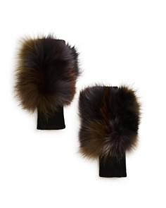 Jocelyn - Insomniac Fox Fur-Trim Fingerless Gloves - 100% Exclusive
