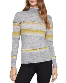 BCBGMAXAZRIA - Mixed Intarsia Mock-Neck Sweater