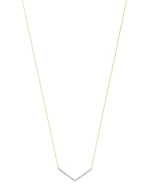 Adina Reyter 14K Yellow Gold Large Pave Diamond V Necklace, 16