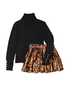 Bardot Junior - Girls' Embellished Mock Neck Sweater & Bella Reversible-Sequin Skirt - Big Kid