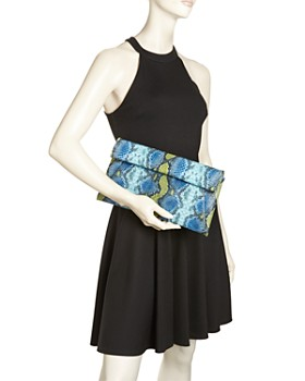 AQUA - Medium Croc-Embossed Foldover Rainbow Crossbody Clutch - 100% Exclusive