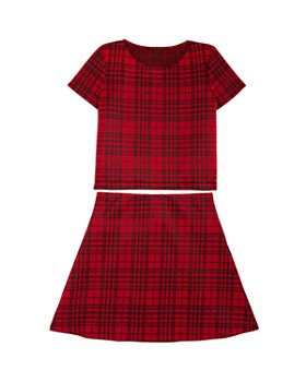 AQUA - Girls' Plaid Top & Skirt, Big Kid - 100% Exclusive