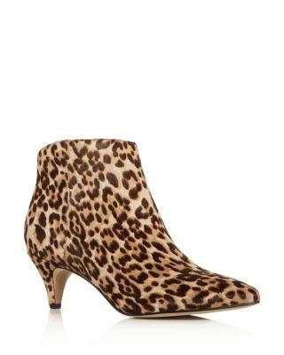 leopard kitten heel boots