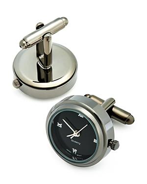 Gunmetal-Tone Working Watch Cufflinks