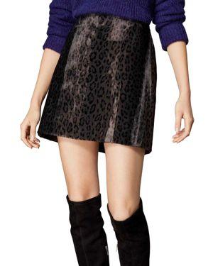 Leopard Print Faux Fur Mini Skirt