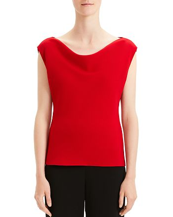 Theory - Draped Boat-Neck Crepe Top