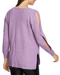 1.STATE - Cutout Sleeve Ribbed Sweater