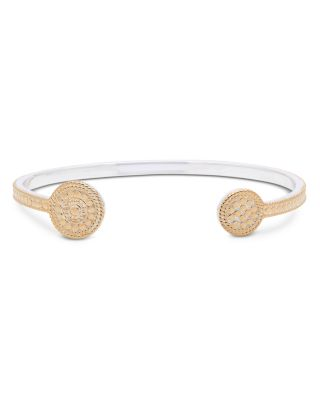 Open Circle Cuff Bracelet In 18 K Gold Plated Sterling Silver by Anna Beck