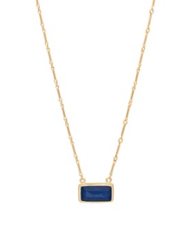 """Anna Beck - Sapphire Bar Pendant Necklace in 18K Gold-Plated Sterling Silver, 16"""""""