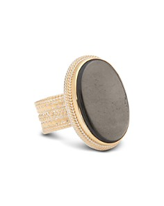 Anna Beck - Smoky Pyrite Cocktail Ring in 18K Gold-Plated Sterling Silver