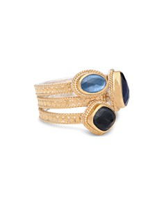 Anna Beck - Sapphire & Hematite Layered Ring in 18K Gold-Plated Sterling Silver