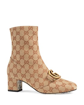 Gucci - Women s Victorie Round Toe Canvas Ankle Booties ... bae9800761