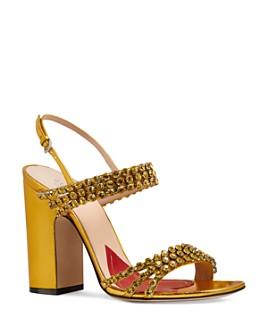 Gucci - Women's Bertie Open-Toe Metallic Leather High-Heel Sandals