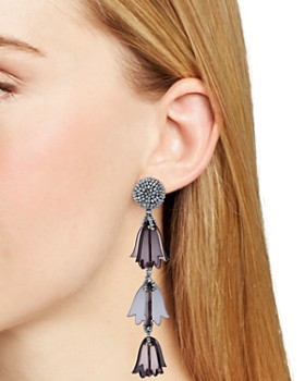 Oscar de la Renta - Beaded Bellflower Clip-On Drop Earrings