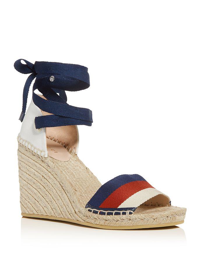 b32583f8b6d Gucci Women s Ankle-Tie Platform Wedge Espadrille Sandals ...