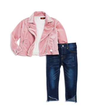 7 For All Mankind Girls' Velour Moto Jacket, Lace-Trimmed Tee & Frayed Jeans Set - Little Kid