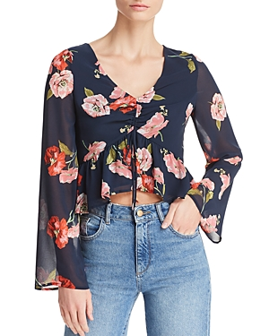 Aqua Floral Ruched Drawstring Cropped Top - 100% Exclusive