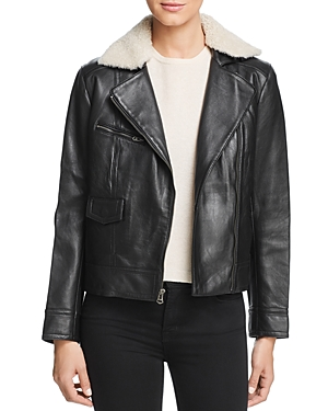 Cole Haan Shearling Collar Leather Moto Jacket