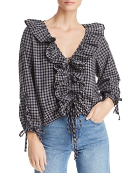 BB DAKOTA -  Lace It To Me Ruffled Plaid Top