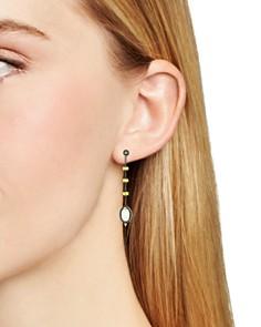 Freida Rothman - Imperial Mother-of-Pearl Linear Drop Earrings in Black Rhodium-Plated Sterling Silver & 14K Gold-Plated Sterling Silver
