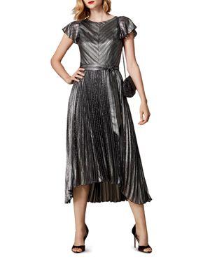 KAREN MILLEN Metallic Striped Pleated Dress in Silver