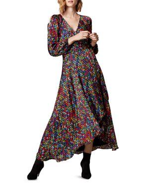 KAREN MILLEN Sequin-Print Wrap Dress in Multicolor