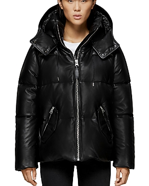 Mackage MILEY PLAID LEATHER SHORT DOWN COAT