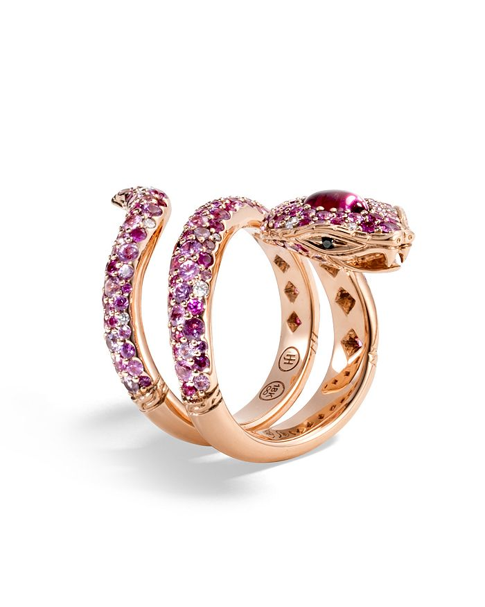 JOHN HARDY - 18K Rose Gold Cinta Collection One-of-a-Kind Rubellite Cobra Ring with Pink Sapphire, White & Black Diamond - 100% Exclusive