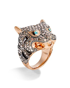 JOHN HARDY - 18K Rose Gold Cinta Collection One-of-a-Kind Macan Black Mother-of-Pearl Ring with Brown Diamonds & Paraiba Tourmaline - 100% Exclusive