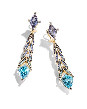 JOHN HARDY - 18K Yellow Gold Cinta Collection One-of-a-Kind Modern Chain Blue Zircon & Grey Spinel Drop Earrings with Black Diamond - 100% Exclusive