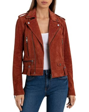 BAGATELLE.NYC Bagatelle. Nyc Suede Moto Jacket in Terracotta