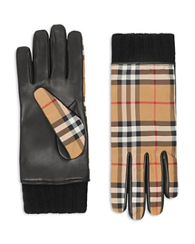1bb4a4c00b07 Burberry - Cashmere-Lined Leather-Trimmed Check Gloves ...