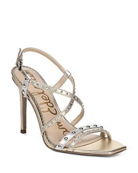 bc1ab4a95 Sam Edelman - Women s Lennox Studded Metallic Leather High-Heel Sandals ...
