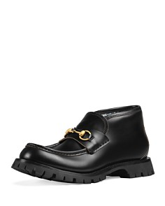 Gucci - Men's Leather Apon-Toe Ankle Boots