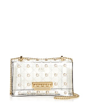 ZAC Zac Posen - Earthette Quilted Pearl Lady Clear Embellished Shoulder Bag