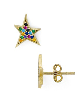 AQUA - Multicolor Star Stud Earrings in 18K Gold-Plated Sterling Silver - 100% Exclusive