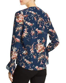 Go by Go Silk - Floral Print Ruffle Top