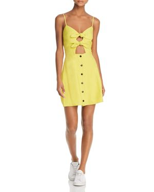 LOST AND WANDER Lost + Wander Bloody Mary Double-Tie Mini Dress in Lime