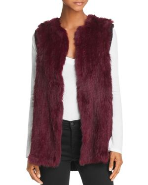 525 AMERICA Knit-Back Real Rabbit Fur Vest in Deep Magenta